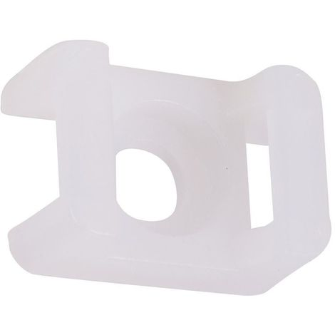 100 x Cable Tie Saddle Mounts Holders For Max 9mm Ties White 21x16mm