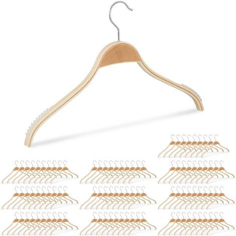 100 x Kleiderbügel Holz, rutschfeste Lamellen, natürliche Optik, 360° drehbarer Haken, stabil, 40 cm, Holzbügel, natur