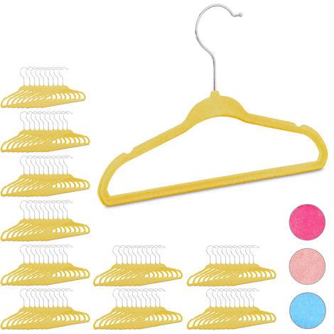 100 x Kleiderbügel Kinder im Set, rutschfest, Kinderbügel mit Samtbezug, weiche Babybügel, 360° drehbare Haken, gelb