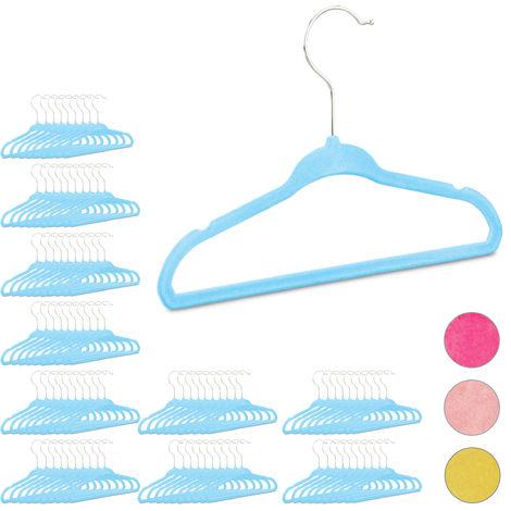 100 x Kleiderbügel Kinder im Set, rutschfest, Kinderbügel Samtbezug, weiche Babybügel, 360° drehbare Haken, türkis