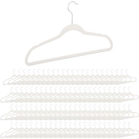 100 x Kleiderbügel Samt, rutschfeste Garderobenbügel mit Hosenstange, Erwachsene, drehbarer Haken, Bügel Set, weiß