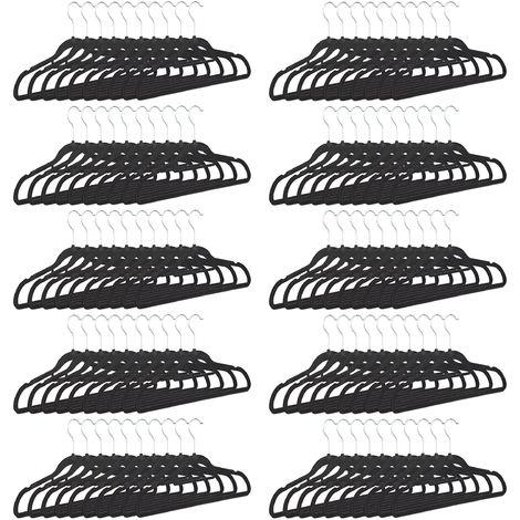 100 x Kleiderbügel schmal, rutschfest, Hosenbügel platzsparend, Samtbezug, 360° drehbarer Haken, HxB 22,5 x 41 cm, schwarz
