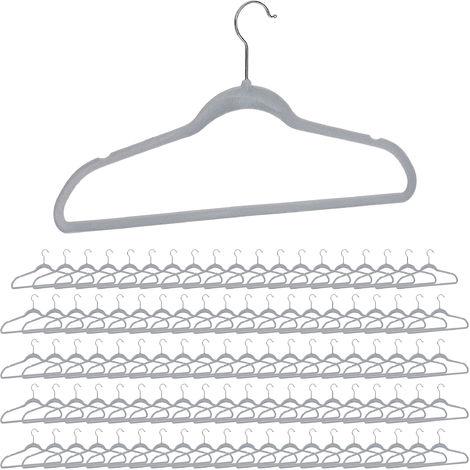 10x Platzsparende Kleiderbügel mit 2 Clips Metallbügel Hosenbügel Klemmbügel
