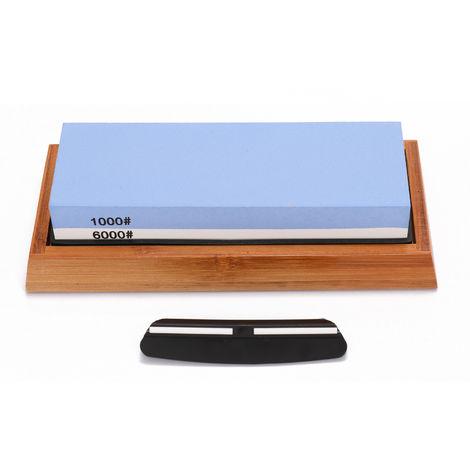1000/6000 Grit Premium Whetstone Cut Sharpening Stone Set Ideal Sharpener for All Blades Non Slip Base Cutter Sharpener