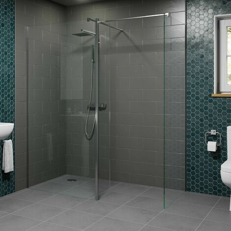 1000 & 700mm Walk In Wet Room Shower Screens with Return Panel 8mm Safety Glass