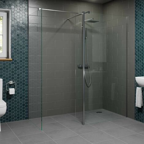 1000 & 800mm Walk In Wet Room Shower Screens with Return Panel 8mm Safety Glass