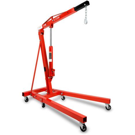 1000 kg Gru per officina idraulica (Braccio della gru 1050 - 1590 mm, 6 Ruote, pieghevole, robusto Cilindro idraulico) Gruetta
