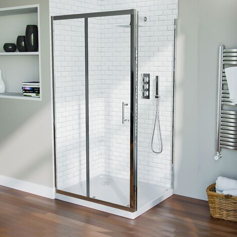 1000 mm Slider Shower Door Enclosure with 700 Frameless Glass Panel Screen + Tray