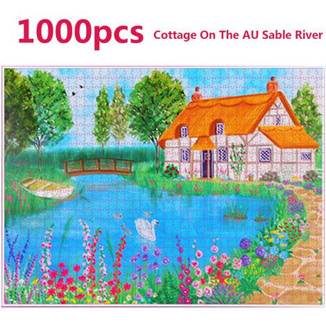 1000 Piece Puzzle Pour Adultes Puzzle Jeux Assembling Image Defier Jouet Educatif Cadeau D'Anniversaire Pour Les Enfants Adolescents Famille, Chalet A La Riviere Au Sable