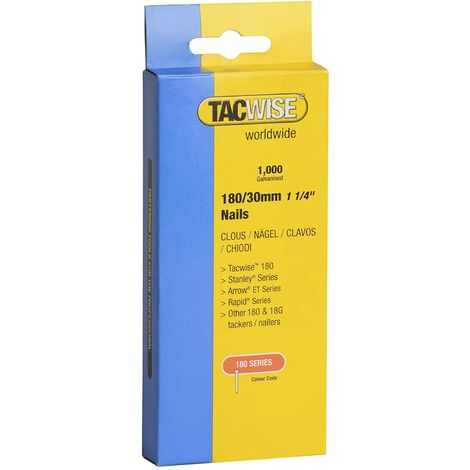 1000 Tacwise 30mm 18 Gauge Brad Nails18g Galvanised 180 Type for Nail Guns
