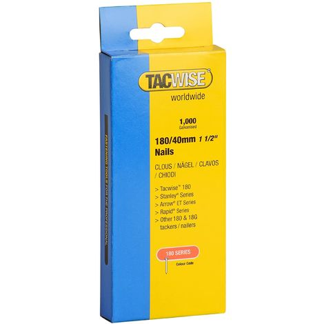 1000 Tacwise 50mm 18 Gauge Brad Nails18g Galvanised 180 Type for Nail Guns