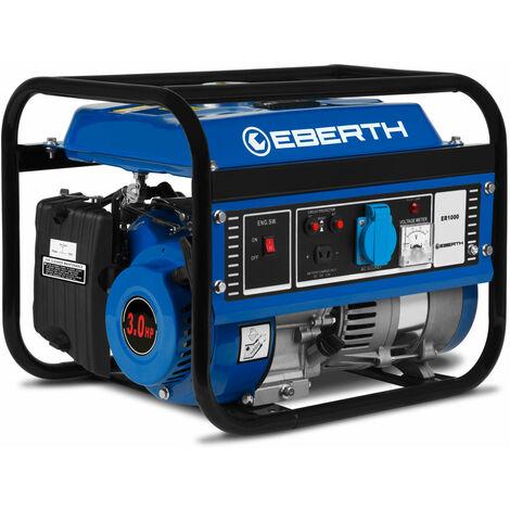 1000 W Generador de corriente (Motor de gasolina de 4 tiempos y 3 CV, Refrigerado por aire, 1x 230 V, 1x 12 V, Arranque rectractil, Monofasico, Seguridad por falta de aceite, Voltímetro) Grupo electrógeno