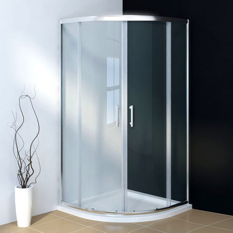 1000 x 1000 mm Quadrant Shower Cubicle 6mm Sliding Shower Enclosure with Stone Tray
