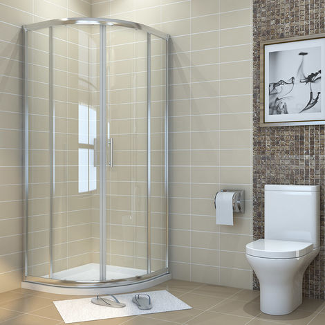 1000 x 1000 mm Quadrant Shower Cubicle 6mm Sliding Shower Enclosure with Stone Tray + Waste