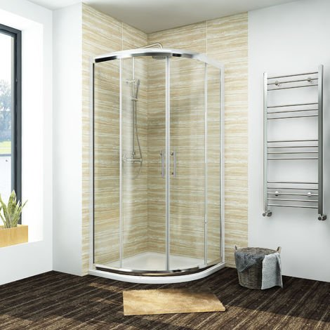 1000 x 1000 mm Quadrant Shower Cubicle Sliding Shower Enclosure with Stone Tray + Waste