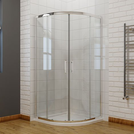 1000 x 1000 mm Quadrant Shower Enclosure 6mm Easy Clean Glass Sliding Door Shower Cubicle and Stone Tray+Waste