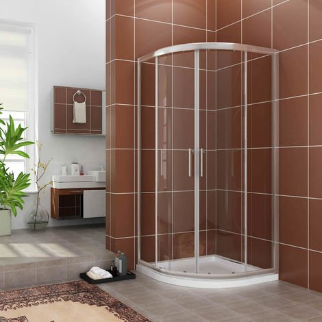 1000 x 1000 mm Quadrant Shower Enclosure Cubicle 6mm Easy Clean Glass Door Right Entry + Stone Tray + Waste Trap