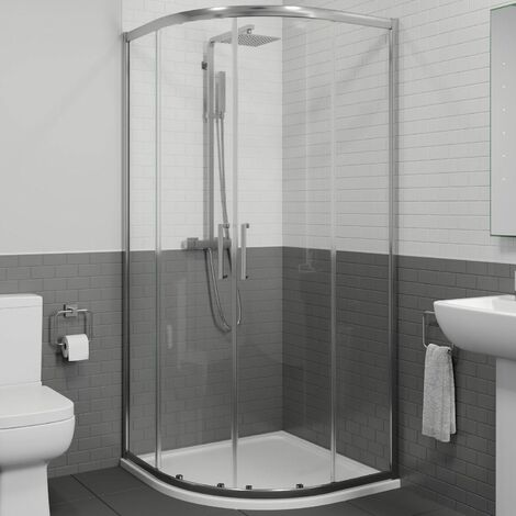1000 x 1000mm Quadrant Shower Enclosure 8mm Walk In Cubicle Framed Tray Waste