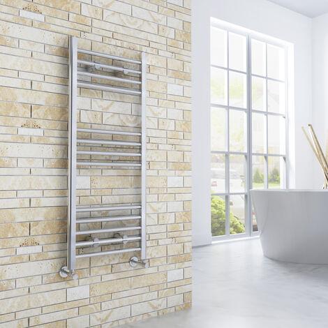 1000 x 400 mm Straight Towel Rail Radiator Chrome Bathroom Towel Radiator + Angled Radiator Valves
