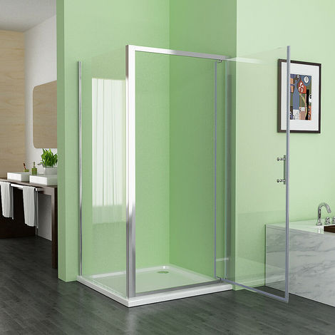 1000 x 700 mm MIQU Pivot Shower Enclosure Door 6mm Safety Nano Glass Shower Cubicle with 800 mm Side Panel - White Tray