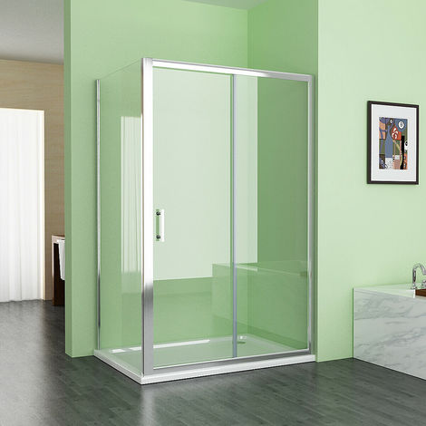 1000 x 700 mm MIQU Sliding Shower Enclosure Cubicle Door with 700 mm Side Panel Corner Entry Easy Clean Nano Glass Screen - White Tray