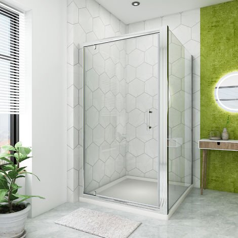 1000 x 700 mm Pivot Hinge Shower Enclosure Glass Screen Door Cubicle with Side Panel