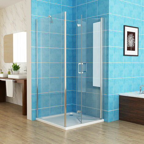 1000 x 700 mm Shower Enclosure Cubicle Door Bathroom Bifold Door Corner Entry Frameless 6mm Easy Clean Nano Glass - with Shower Tray
