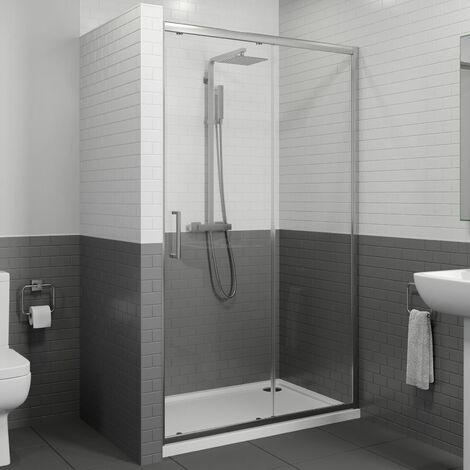 1000 x 700mm Sliding Shower Door Enclosure 8mm Glass Panel Framed Tray & Waste