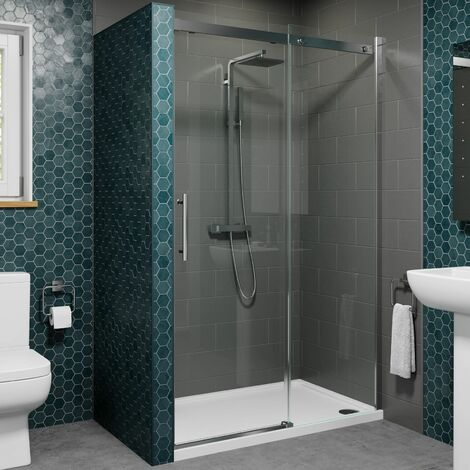 1000 x 760mm Sliding Shower Enclosure Door 8mm Glass Screen Frameless Tray Waste