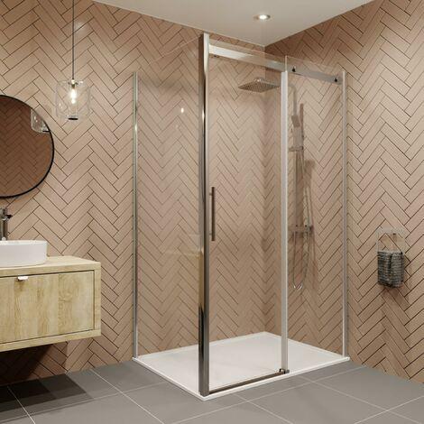 1000 x 760mm Sliding Shower Enclosure Door Side Panel 8mm Safety Glass Frameless