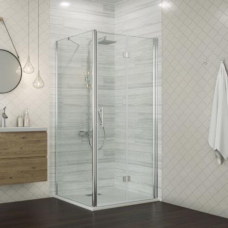 1000 x 800 mm Bifold Shower Enclosure Glass Shower Door Reversible Folding Cubicle Door + Side Panel