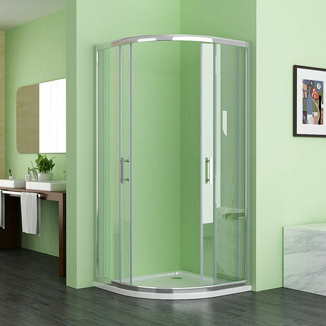 1000 x 800 mm Offset Quadrant Shower Enclosure Cubicle Sliding Door 6mm Nano Easy clean Glass No Tray