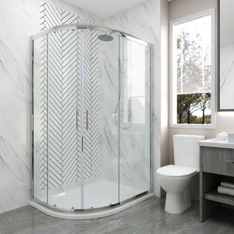 1000 x 800 mm Quadrant Shower Cubicle Enclosure Sliding Door 6mm Easy Clean Glass