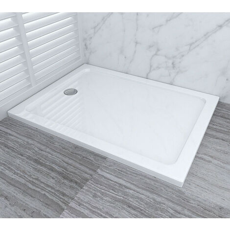 1000 x 800 mm Shower Enclosure Tray with Drain Shower Base Slimline Rectangular Acrylic + Free Waste Trap