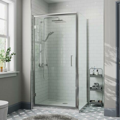 1000 x 800mm Framed Hinged Shower Enclosure Door Side Panel Walk-In 8mm Glass