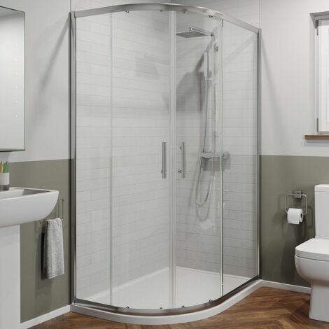 1000 x 800mm LH Offset Quadrant Shower Enclosure Framed 6mm Glass Tray & Waste
