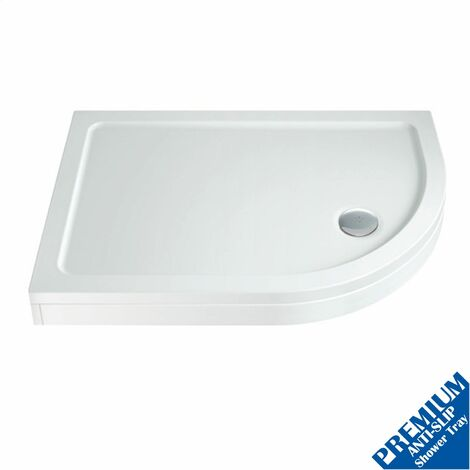 1000 x 800mm Offset Quad Shower Tray Right Entry Easy Plumb Anti-Slip FREE Waste