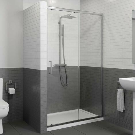 1000 x 800mm Sliding Shower Door Enclosure 8mm Glass Panel Framed Tray & Waste