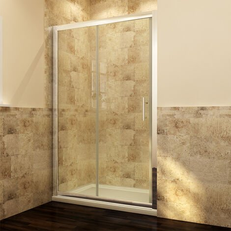 1000 x 800mm Sliding Shower Enclosure 6mm Safety Glass Screen Door Cubicle with Tray + Waste