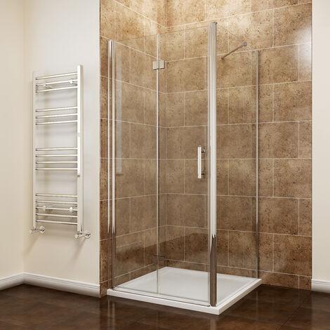 1000 x 900 mm Bifold Shower Enclosure Glass Shower Door Reversible Folding Cubicle Door + Side Panel