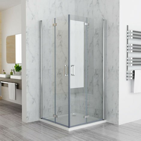 1000 x 900 mm MIQU DBP Shower Enclosure Cubicle Door with Tray Corner Entry Bathroom 6mm Safety Easy Clean Nano Glass Bifold Door Frameless