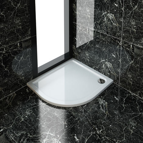 1000 x 900 mm Offset Quadrant Stone Shower Tray with Waste Trap - LEFT