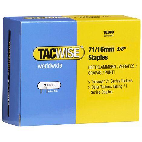 10000 Tacwise 16mm Type 71 series Galvanised staples for staple gun guns 0372