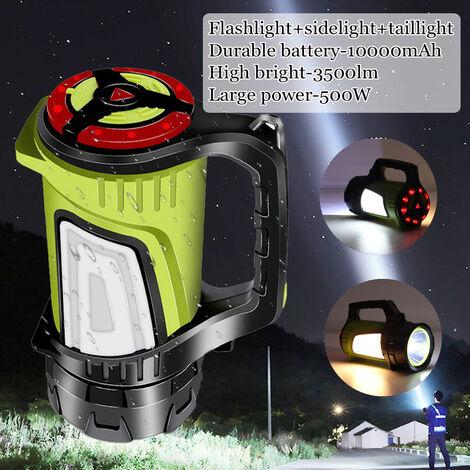 10000mAh 3500lm 500W Projecteur Rechargeable Lampe de Travail Torche Lampe de Poche Portable étanche Super Lumineux Torches de Chasse Lampe Recherche Lumières Pêche de Nuit Camping en Plein Air Lampe de Poche à 2 Vitesses + Flash + Feu de position jaune /