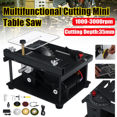 10000rpm / min Multifunctional Cutter Mini Table Saw DIY Woodworking Angle Table Sliding Saw Polishing Household Bench Saw Cutter Woodworking Tools