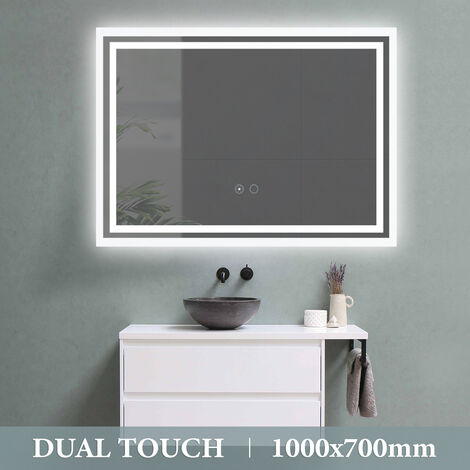 1000¡Á700mm Dual Touch LED Bathroom Illuminated Mirror Demister Wall Mounted UK Plug
