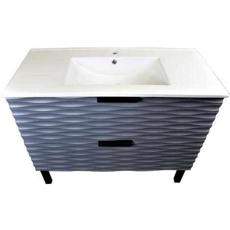1000mm Bathroom Vanity Unit Floor Standing 2 Drawer Cabinet Grey