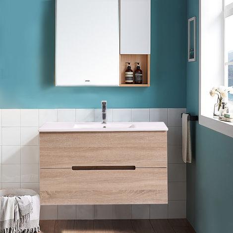 1000mm Light Oak Wall Hung Vanity Unit Basin Bathroom Storage Furniture