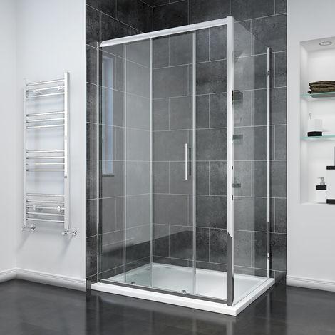 1000mm Sliding Shower Door Modern Bathroom 8mm Easy Clean Glass Shower Enclosure Cubicle with 760mm Side Panel
