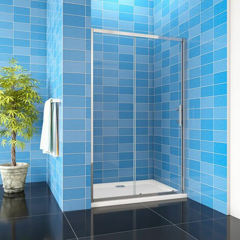 """main image of """"1850H Sliding Door Shower Enclosure Chrome Walk In 5mm Tempered Glass Cubicle Screen"""""""